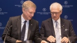 Power Corporation's Chairman and Co-CEO Paul Desmarais Jr (left) and Deputy Chairman, President and Co-CEO Andre Desmarais attend a news conference after their company's annual meeting in Toronto on Tuesday, May 14, 2019. THE CANADIAN PRESS/Chris Young
