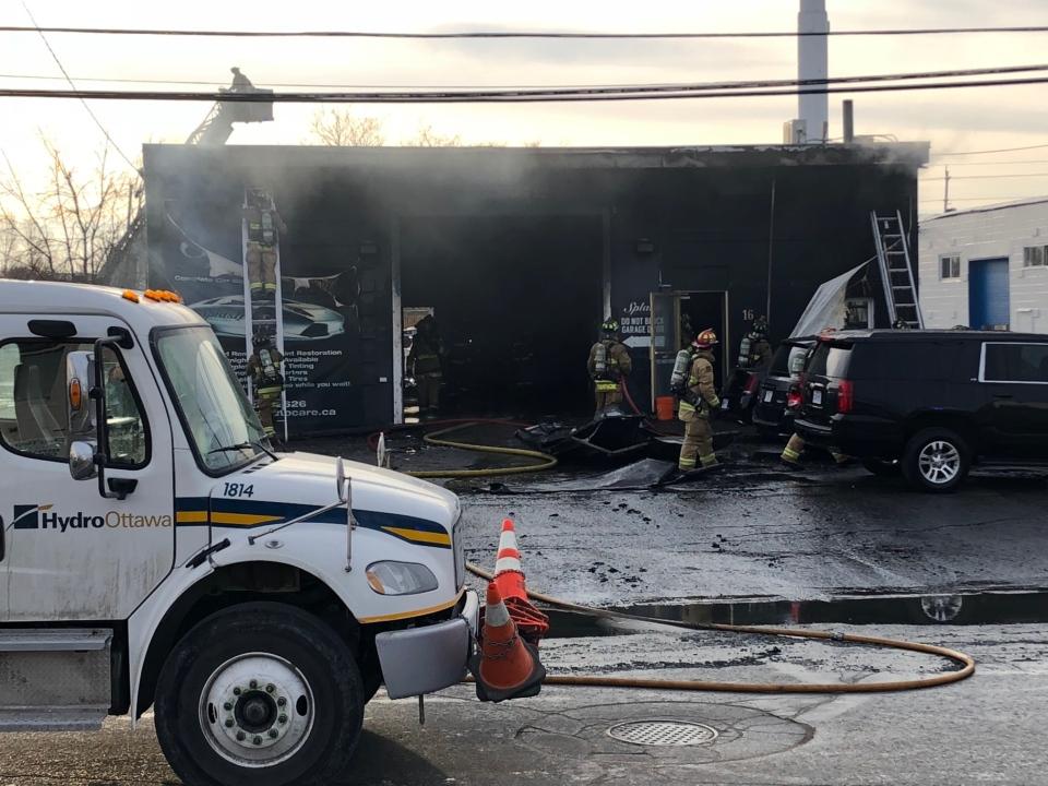 Closeup of fire at Splash Autocare