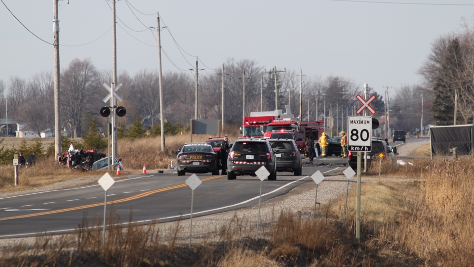 OPP work at the scene of a fatal collision on Highway 3 near St. Thomas, Ont. on Friday, Dec. 13, 2019. (Gerry Dewan / CTV London)
