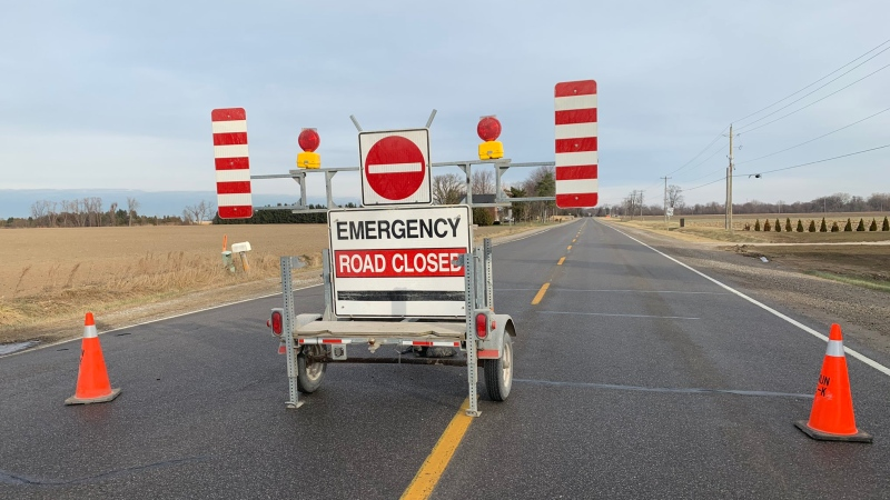Police have closed Longwoods Road between Centre Side Road and Lindsay Road in Chatham, Ont. on Friday, Dec. 13, 2019. (Courtesy Chatham-Kent police)