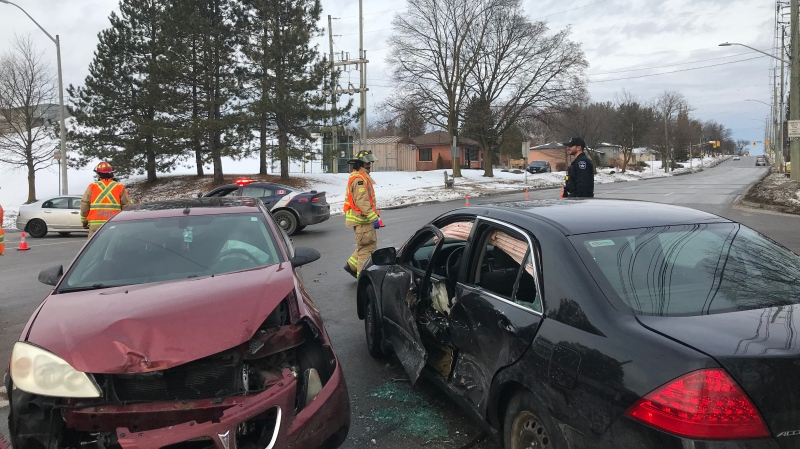 One woman was sent to hospital after a morning crash in Barrie's north end at Anne Street and Shirley Avenue, December 13, 2019 (Mike Arsalides / CTV News)