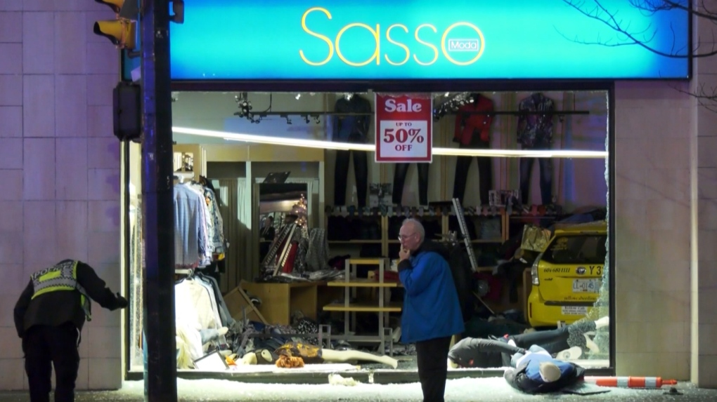 Taxi smashes through downtown Vancouver clothing store after collision