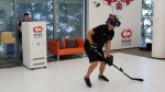 A hockey player uses the Sense Arena virtual reality training system in this handout image. (Sense Arena)