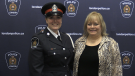 Const. Jessica Dodds, left, and her mother Deb Dodds, at a swearing-in ceremony at the London Police Service headquarters on Friday, Dec. 13, 2019. (Jim Knight / CTV News London)