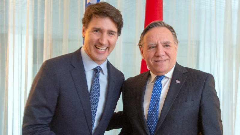 Prime Minister Justin Trudeau shakes hands with Quebec Premier Francois Legault before their meeting in Montreal, Friday, Dec. 13, 2019. THE CANADIAN PRESS/Ryan Remiorz