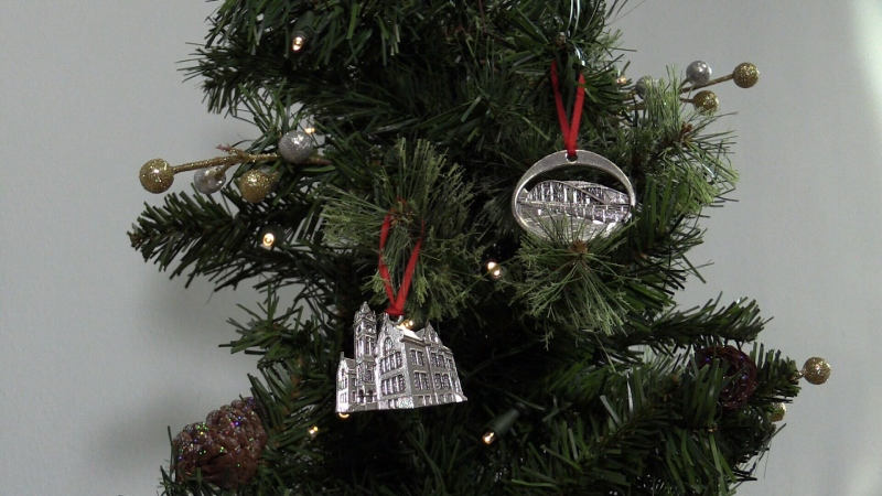 This year's ornaments feature the London Normal School and Blackfriars Bridge. (Wayne Jennings / CTV News London)