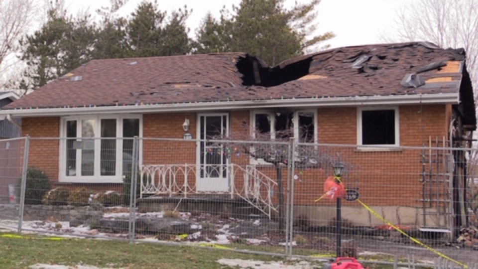 Fire damage to the Steinhoff home in Paisley, Ont. is seen on Friday, Dec. 13, 2019. (Scott Miller / CTV London)