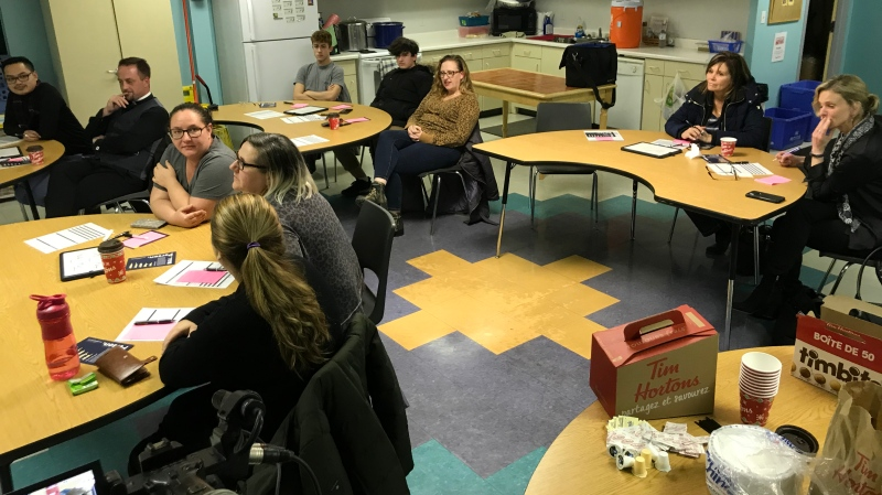 The Aids Committee of Windsor hosts its second 'Label Me Person' workshop at Drouillard Place in Ford City concerning opioids and naloxone use on December 11, 2019. (Alana Hadadean/CTV Windsor)