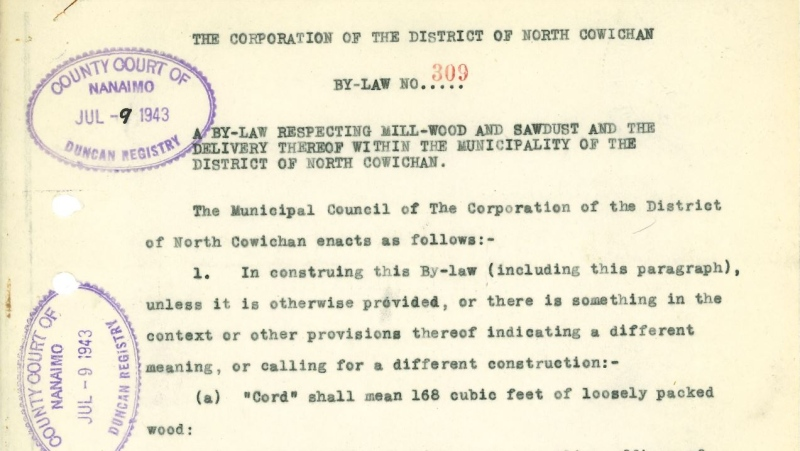 A 1943 bylaw regulating the sale of wood and sawdust in North Cowichan is one of several bylaws to be repealed in the purge. (Municipality of North Cowichan)