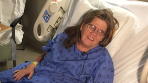 Corrine Knox is in hospital, after having a heart attack on an LTC bus, in London, Ont. on Friday, Dec. 13, 2019. (Bryan Bicknell / CTV London)