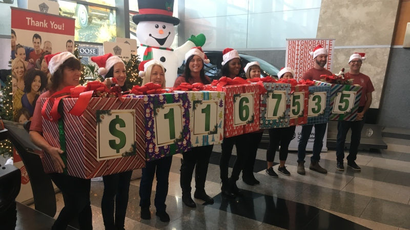 Windsor United Way Centraide was the recipient of just over $1.1 million, thanks to FCA employees and retirees in Windsor, on Friday, Dec. 13, 2019. (Bob Bellacicco / CTV Windsor)