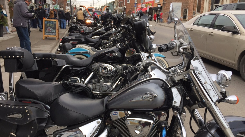 Motorcycles line the street in Port Dover on Dec. 13, 2019. (Krista Sharpe / CTV Kitchener)
