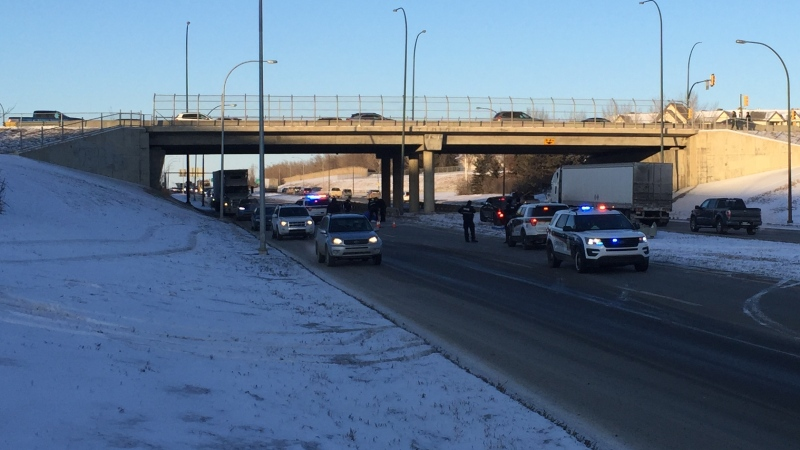 Saskatoon police are seen at a crash site on Circle Drive near the Taylor Street exit. (Dan Shingoose/CTV Saskatoon)
