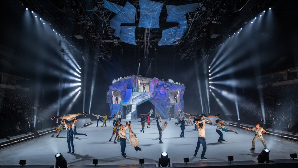 Cirque du Soleil says CRYSTAL will feature 'figure skating and extreme skating combined with inventive acrobatics and aerial feats...on a whimsical frozen playground'. (Photo credit: Matt Beard / Costumes : Marie Chantale Vaillancourt / ©2019 Cirque du Soleil.)