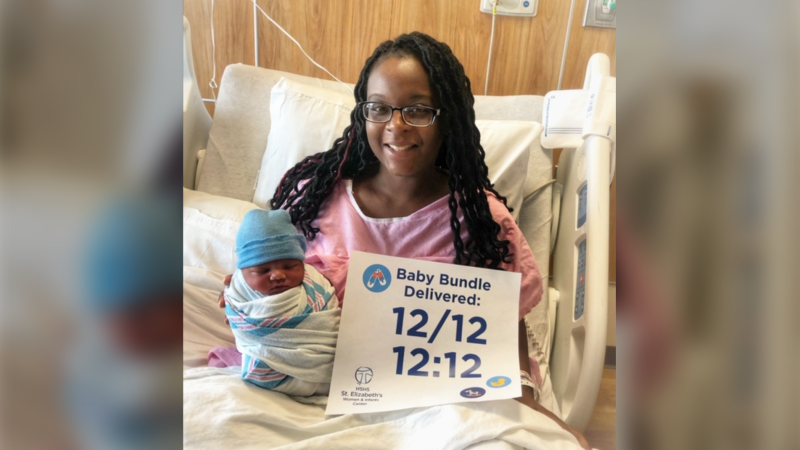 The birth of a baby boy is being hailed as a 'lunar coincidence' after he was delivered at 12:12 a.m. on Dec. 12 during the last full moon of the decade. (HSHS St. Elizabeth's Hospital)