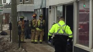 Emergency crews evacuated an apartment complex in Barrie on Essa Road on Fri., Dec. 13, 2019. (Steve Mansbridge/CTV News)