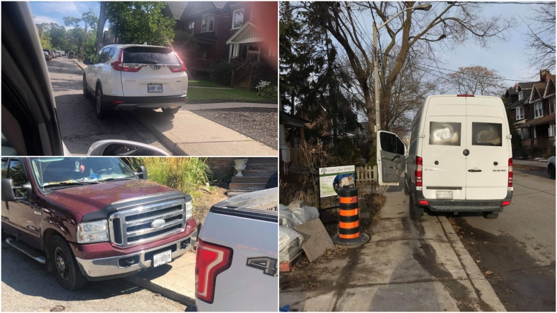 Two Toronto mothers say they are frustrated after a number of vehicles have been caught parking on the sidewalk. (CTV News Toronto/ Beth Macdonell)