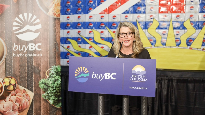 B.C. Minister of Agriculture Lana Popham speaks about the Buy BC program at a Safeway store on Robson Street in Vancouver in September 2019 (Ministry of Agriculture/Flickr)
