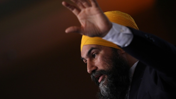 Federal NDP Leader Jagmeet Singh delivers his speech during the BC NDP Convention at the Victoria Convention Centre in Victoria, B.C., on Saturday, November 23, 2019. The New Democratic Party is sitting in fourth place after the fall's divisive federal election and its leader Jagmeet Singh says he is not interested in partnering with the Conservatives to overwhelm Prime Minister Justin Trudeau's Liberal minority. THE CANADIAN PRESS/Chad Hipolito
