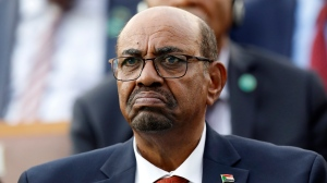 In this July 9, 2018, file photo, Sudan's President Omar al-Bashir attends a ceremony for Turkey's President Recep Tayyip Erdogan, at the Presidential Palace in Ankara, Turkey. (AP Photo/Burhan Ozbilici)
