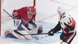 Montreal Canadiens goaltender Cayden Primeau recorded his first NHL win Wednesday and is being sent to the Rocket as Charlie Lindgren takes his place. THE CANADIAN PRESS/Graham Hughes