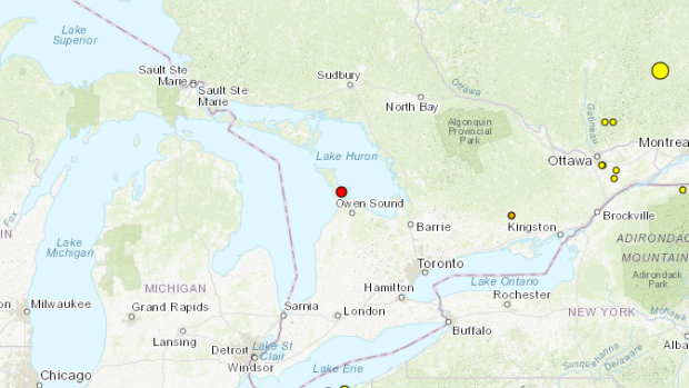 Natural Resources Canada say a 2.1-magnitude earthquake was measured near Wiarton, Ont. on Friday, Dec. 13, 2019. (Map Source: Natural Resources Canada)