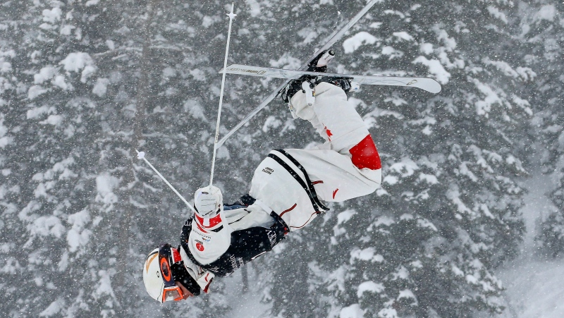 Mikael Kingsbury, of Canada, trains during the men's dual moguls skiing world championship, in Park City, Utah, Saturday, Feb. 9, 2019. THE CANADIAN PRESS/AP-Rick Bowmer