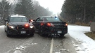 Perth County OPP block off part of Perth Line 43 after a single-vehicle collision. (Edwin Huras/CTV Kitchener) (Dec. 14, 2019)