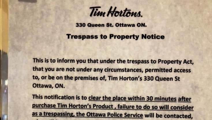Controversial sign at Ottawa Tim Hortons gives time limit to customers