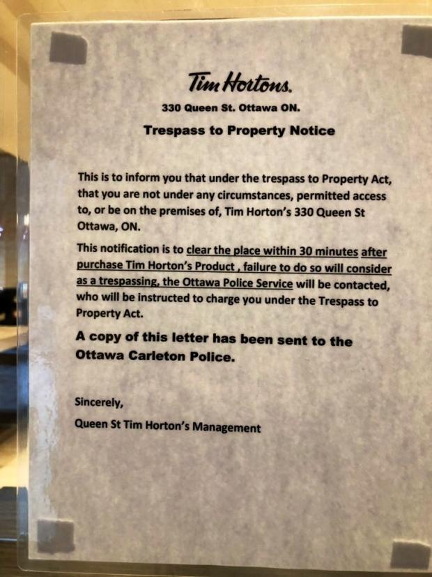 Controversial sign at Ottawa Tim Hortons taken down