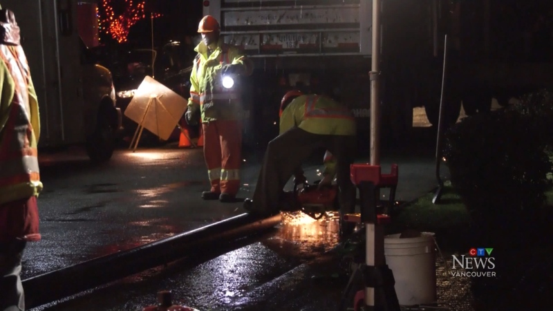 Water main break in North Vancouver
