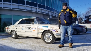Héctor Argiró is travelling from Argentina to Alaska in a 1969 Torino 380 coupé. CTV's Dan Timmerman met up with him in Winnipeg to give you a sneak peak at his journey. (Source: Dan Timmerman/ CTV News Winnipeg)