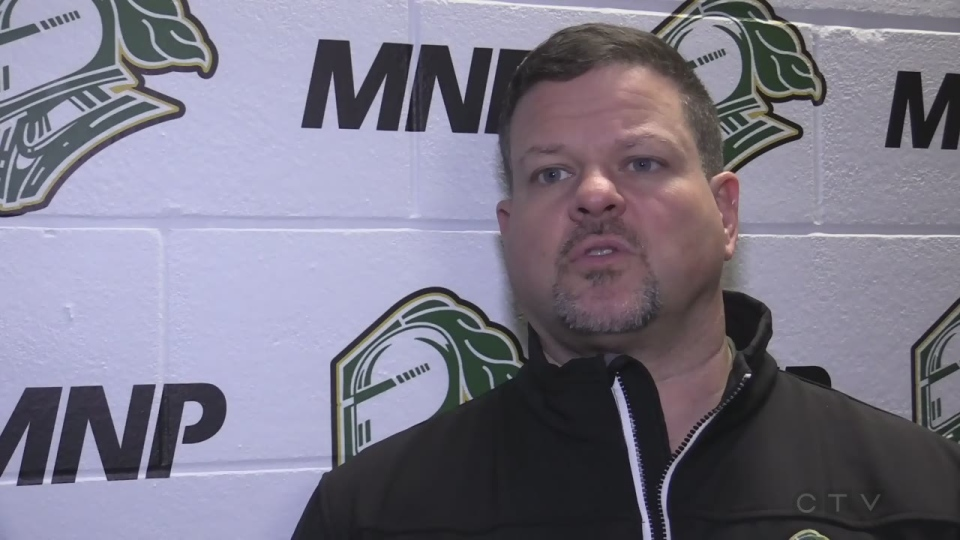 London Knights physiotherapist Doug Stacey helped treat Niagara goalie who suffered a severe laceration on the ice.