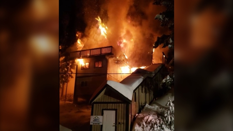 A fire at a house at Big White Ski Resort caused major damage to the wood-frame building. No one was home at the time of the fire. (Castanet)