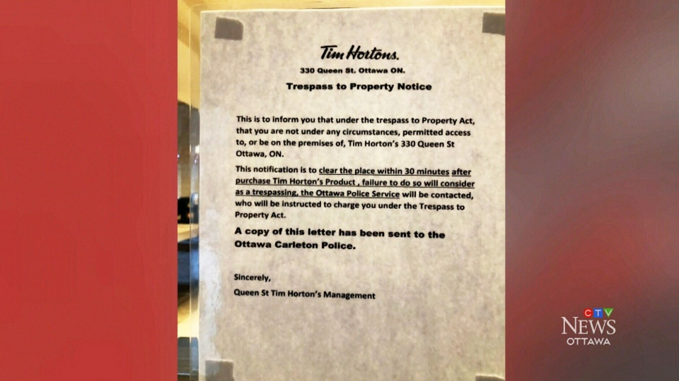 Downtown Tim Hortons institutes time limit