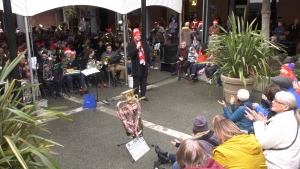 More than 100 musicians gathered for an annual Christmas concert in downtown Victoria's Market Square Saturday afternoon. (CTV)