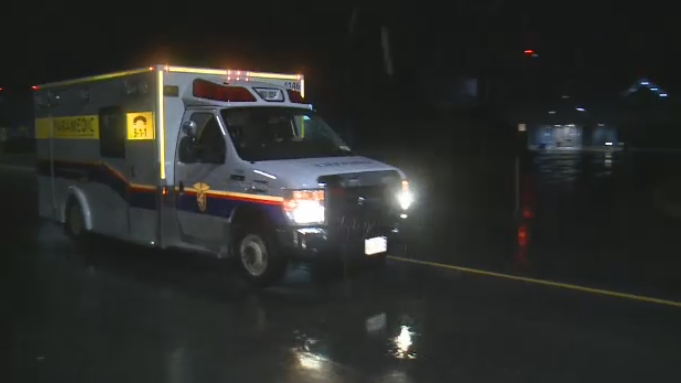 An ambulance leaves the Ottawa airport with Kitchener, Ont. resident Alex Witmer and his wife, Jennifer. Alex was diagnosed with a brain tumour during a trip to Thailand.