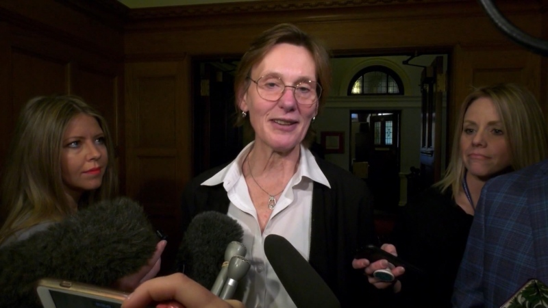 B.C. Minister of Transportation Claire Trevena speaks to reporters in Victoria in this file photo. (CTV)