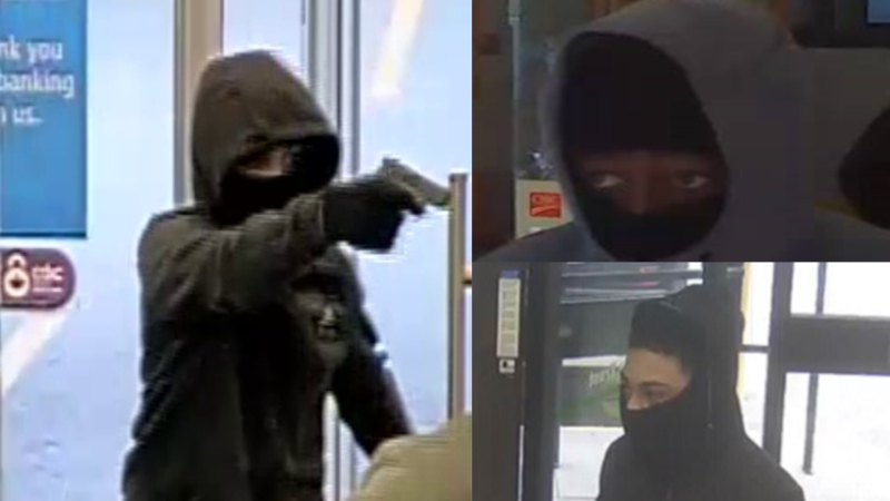 Police are looking for three suspects in connection with a series of bank robberies in Toronto and Peel Region in October. (Supplied)