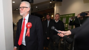 British opposition Labour Party leader Jeremy Corbyn arrives for the declaration of his seat in the 2019 general election in Islington, London, Friday, Dec. 13, 2019. (AP Photo/Alberto Pezzali)