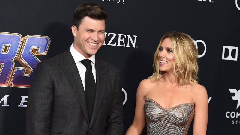 "In this April 22, 2019, file photo, Colin Jost, left, and Scarlett Johansson arrive at the premiere of ""Avengers: Endgame"" at the Los Angeles Convention Center. (Photo by Jordan Strauss/Invision/AP, File)"