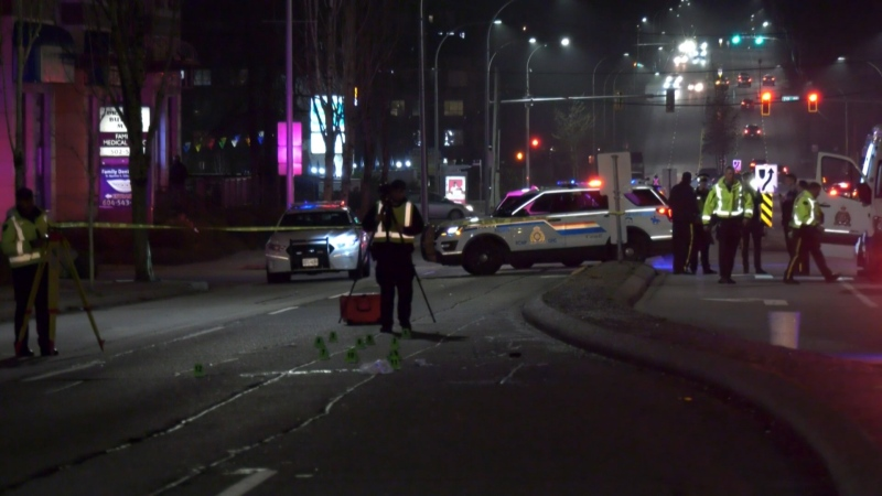Police investigate a collision after a pedestrian was fatally injured when he was struck by a car on Scott Road in Surrey on Dec. 14, 2019.