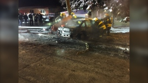Fire crews responded to a single vehicle crash where the driver was trapped in a burning vehicle around 9:42 p.m. on Dec 14, said Winnipeg Fire Paramedic Service. (Source: Twitter/IAFF Local 867)