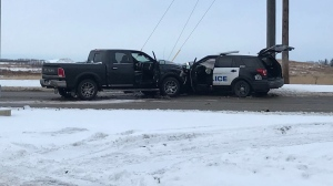 Roads were blocked off in the area of 167 Avenue and 66 Street on Sunday, Dec. 15, 2019, after an Edmonton police vehicle was involved in a collision.