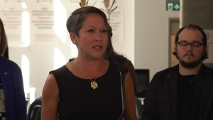 B.C. Minister of Advanced Education and Training Melanie Mark speaks at an event in Vancouver in August 2019. The Society of BC Veterinarians says Mark and her ministry are unnecessarily delaying changes that would alleviate a shortage of vets in the province. (CTV)