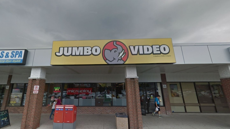 One of the few remaining video rental stores, Jumbo Video, celebrated 30 years of business in London, Ont. despite the advent of massive online streaming services such as Netflix and Hulu. (Google Maps)