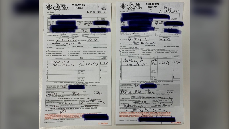 Vancouver police issued back-to-back speeding tickets to a single driver Saturday morning, all within a span of less than 15 minutes. (@baldguy1363/Twitter)