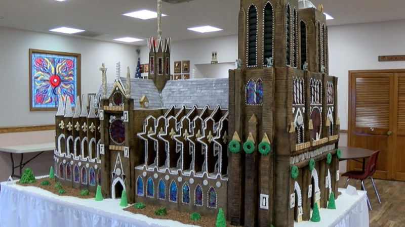 One church honors Notre Dame with gingerbread replica. (KSHB)