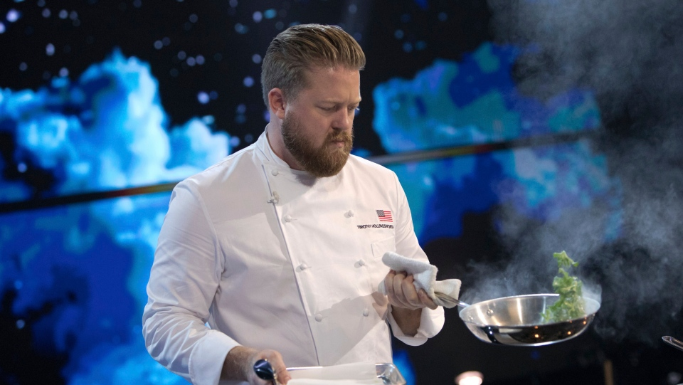 This image released by Netflix shows Tim Hollingsworth, chef and owner of Otium in Los Angeles appears in a scene from the cooking competition series 'The Final Table.' (Adam Rose/Netflix via AP)
