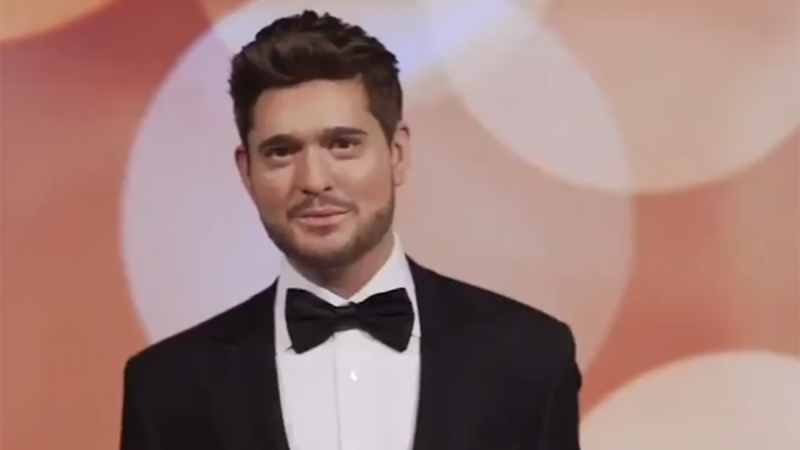 A statue of Michael Buble is seen in a still image from video posted on Twitter by Madame Tussauds London.